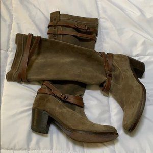 Frye Jane Strappy Knee High Olive-Gray Boots
